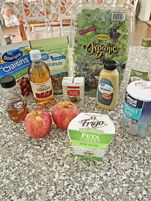 ingredients for apple cranberry walnut salad recipe