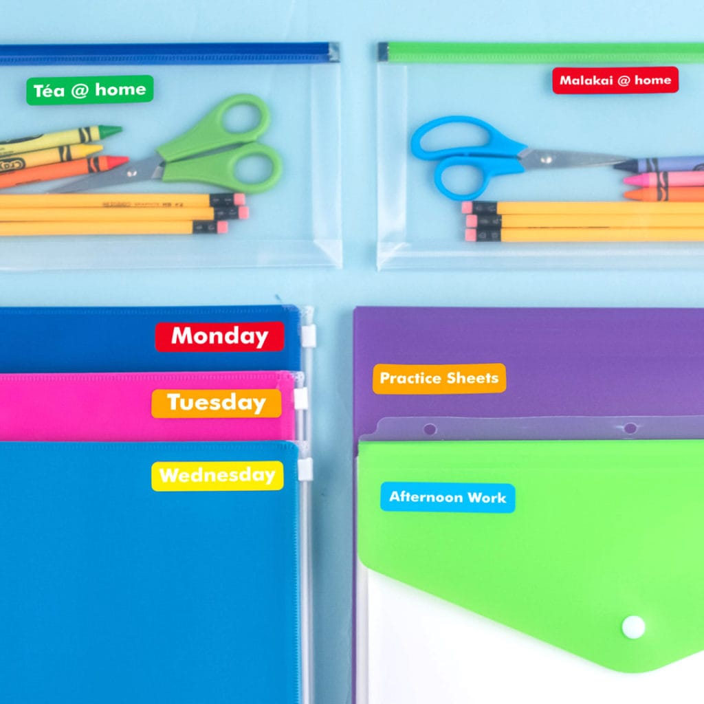 folders and school supplies back to school