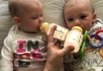 baby twins drinking from bottles mama of newborn twins