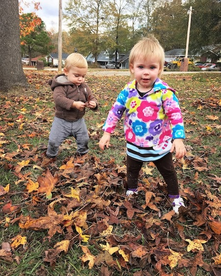 twin toddlers playing in the leaves twin mom observations