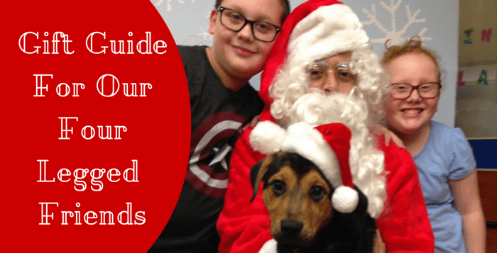 Image of Twins and Dog with Santa- Gift Guide for out four legged friends