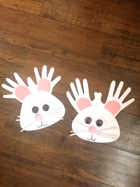handprint easter bunnies Easter DIY Decorations to Make with Kids