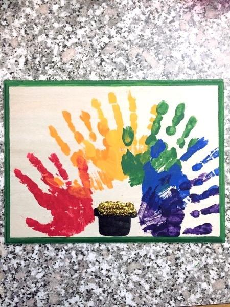 handprint rainbow craft St. Patrick's Day Decorations