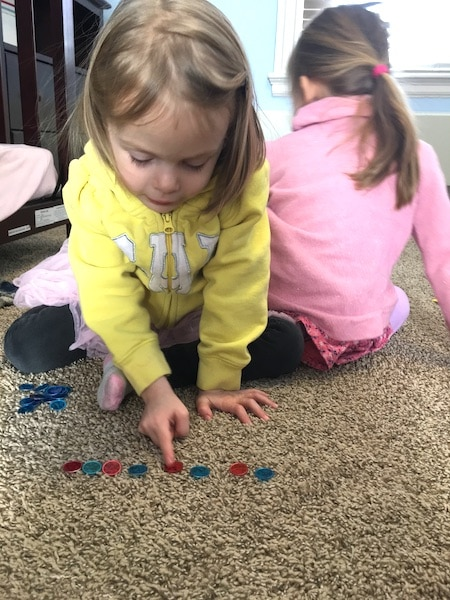 girl counting circles love of math