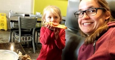 mom and daughter eating pizza preschool schedule