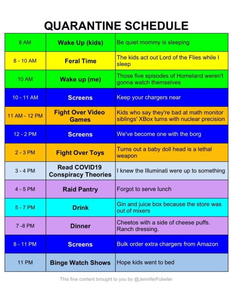 funny quarantine schedule expectations