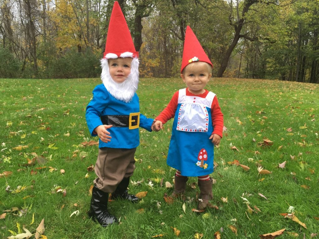 toddler twins dressed as gnomes