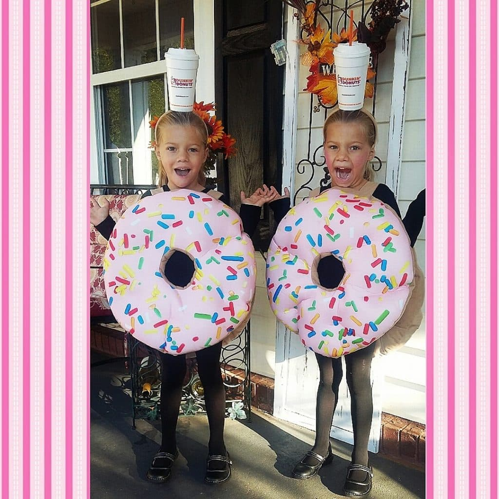 8 year old girl twins in donut costumes