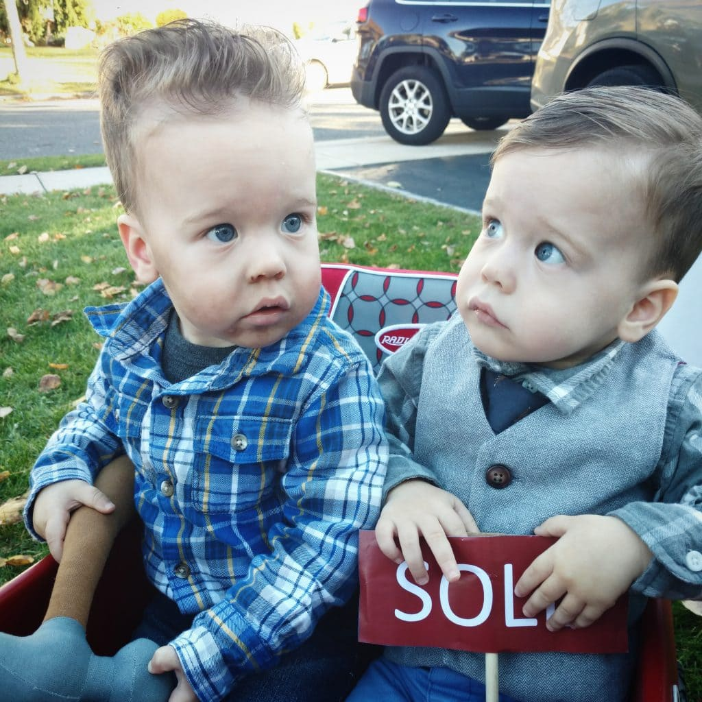 baby twin boys dressed up as the property brothers