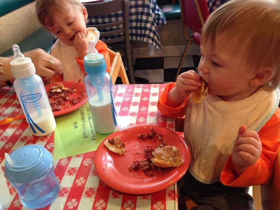 baby twins eating meal twin milestones