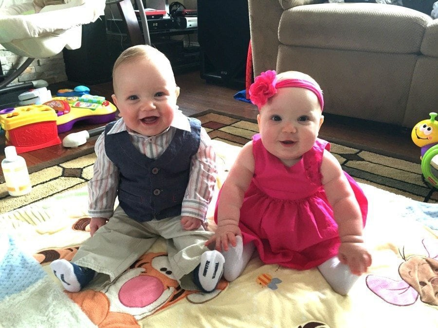Happy Baby twins in dress clothes