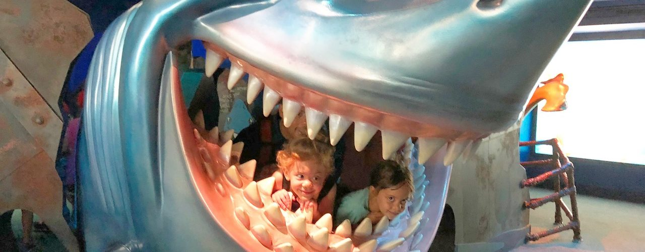 girl twin toddlers in fake shark mouth disney world with twins