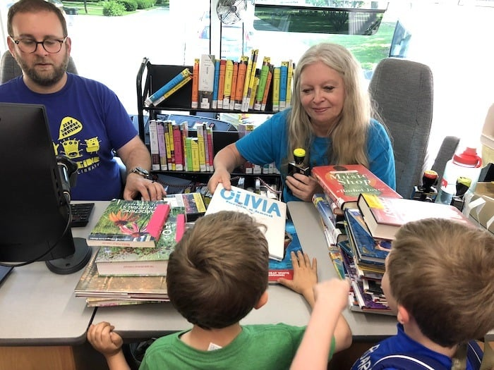 bookmobile check out desk learning over summer break