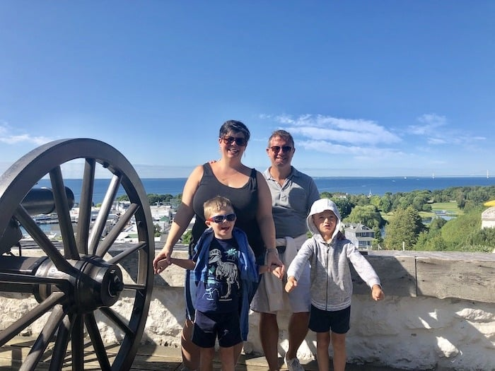 family at Fort Mackinac mackinac island lodging