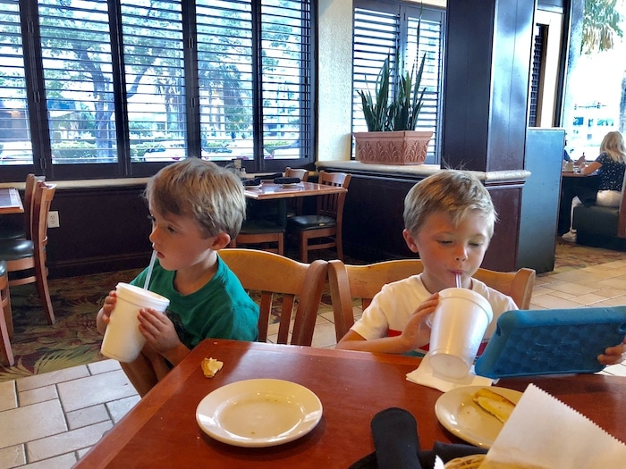 dining out with twins