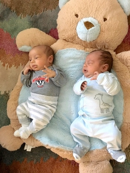 baby twins on a blanket baby registry for multiples