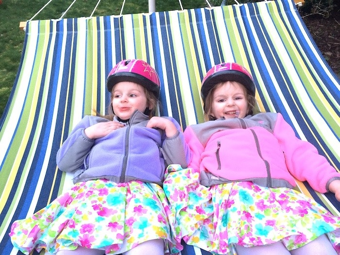 twin girls in hammock three-year-old twins