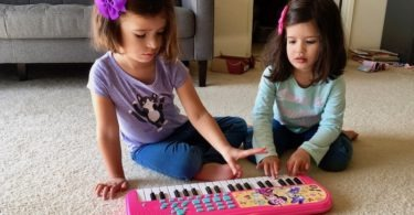 twin girls playing with a keyboard Sharing Between Twins