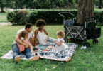 day trips with twins family with picnic and wagon