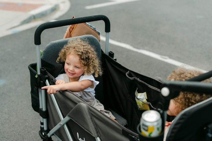 day trips with kids in larktale caravan stroller wagon