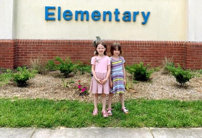 twin girls at elementary school preparing twins for kindergarten