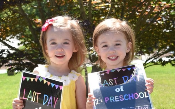 twin girls first day of preschool pros and cons of identical twins