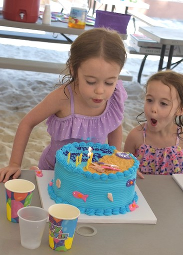 girl blowing out birthday candles while her twin watches embrace their individuality
