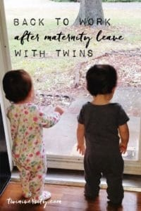 twin toddlers standing at door maternity leave