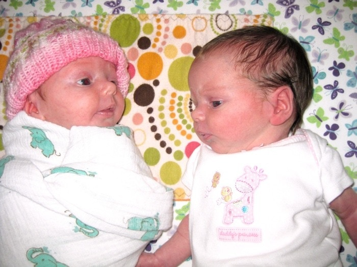 newborn twins exclusively breastfed twins