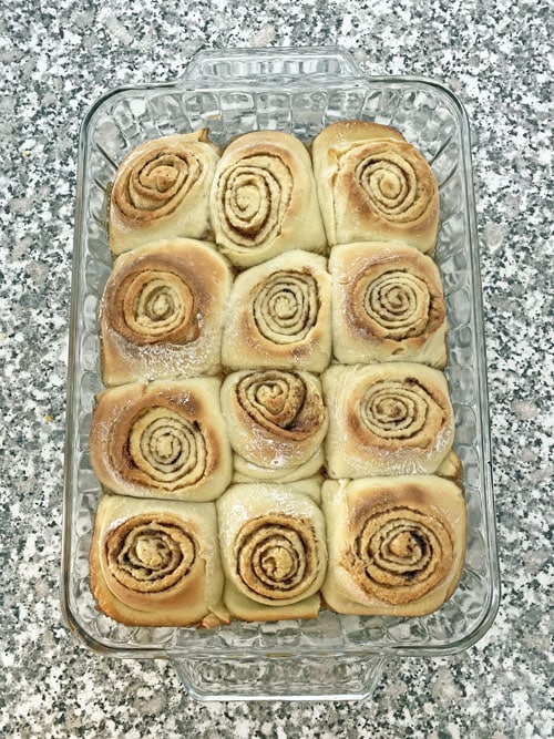 baked cinnamon rolls in a pan