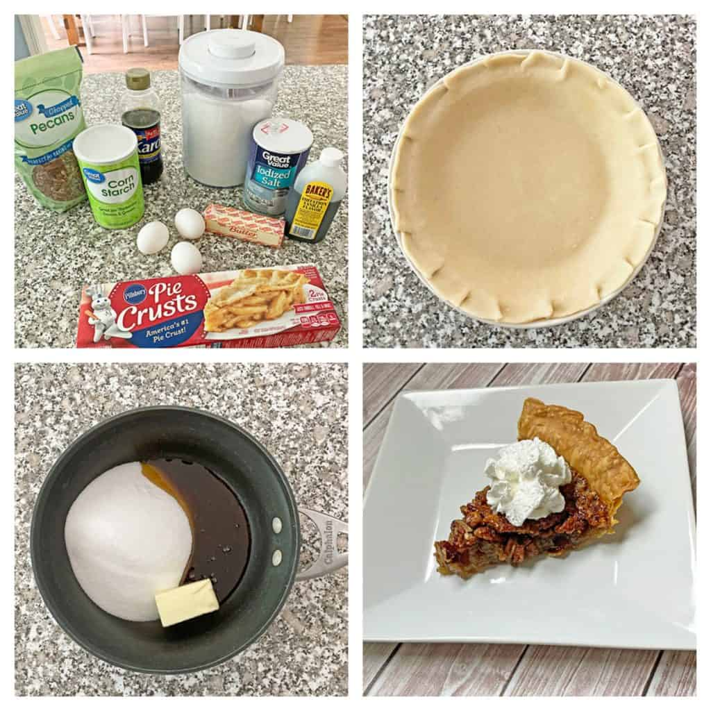 collage of making a pecan pie