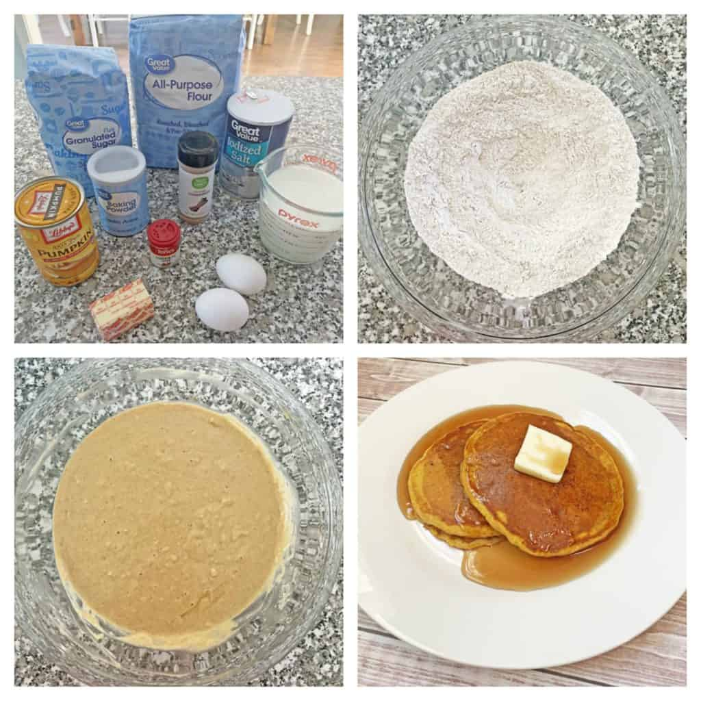 pumpkin pancakes recipe collage
