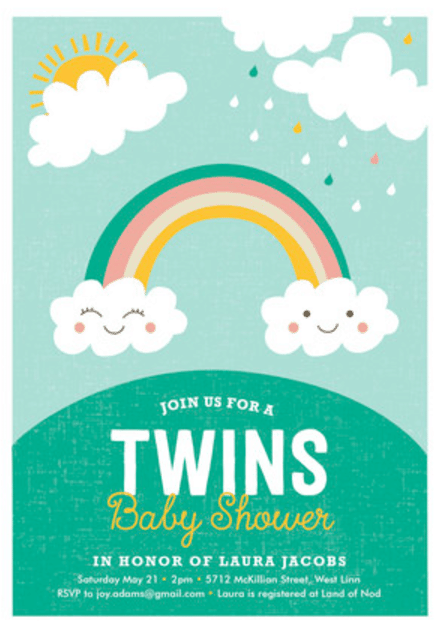 Unique Baby Shower Invitations for Twins