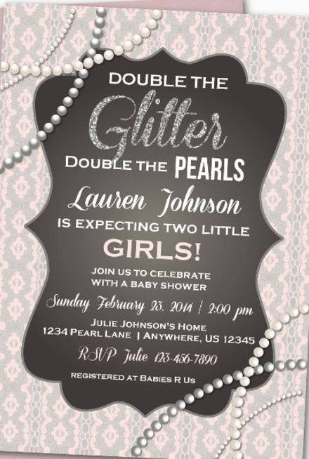 twins baby shower invites