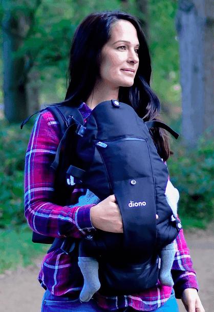 mom wearing baby in carrier babywearing