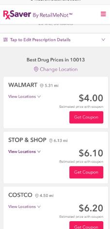 rxsaver by retailmenot save on prescriptions