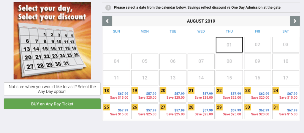 Six Flags ticket prices