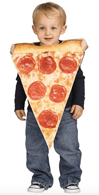 Toddler pizza costume.