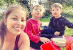 navigating mom and twin boys in backyard