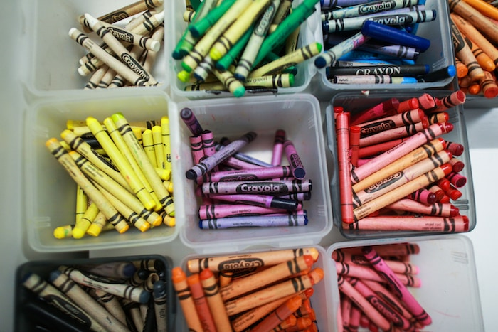 spring clean up crayons in an organizer