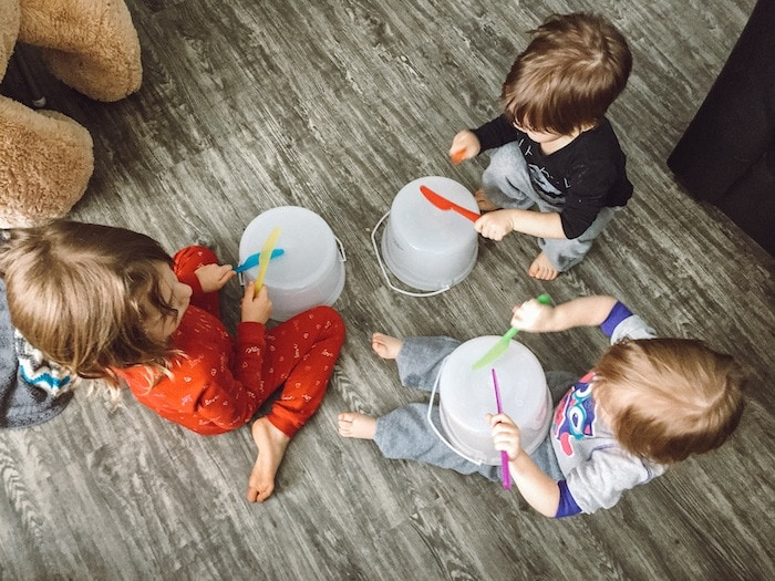 3 kids playing drums Twin Mom Life