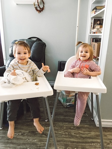 twin toddlers eating in high chairs Twin Mom Life