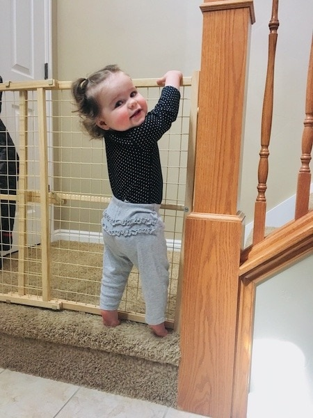 toddler climbing baby gate strong-willed child