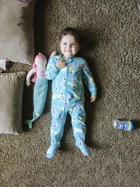 little girl in pajamas strong-willed child