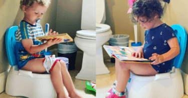 boy and girl on floor potties potty training twins