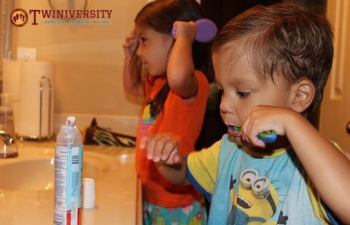 brushing teeth and hair