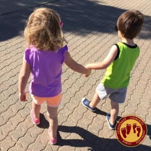3 year old boy/girl twins holding hands