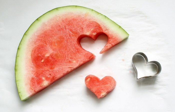 Watermelon cut into hearts