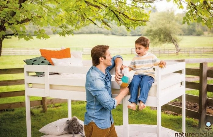 Naturepedic Dad and son bunkbed