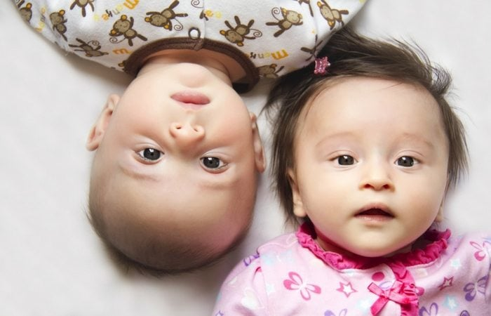 boy girl infant twins